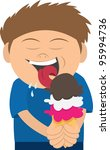 kid licking a three scoop ice... | Shutterstock .eps vector #95994736