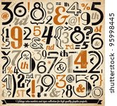 various retro vintage number... | Shutterstock .eps vector #95998445