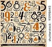 various retro vintage number... | Shutterstock .eps vector #95998445