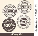 stamp set   a collection of ink ... | Shutterstock .eps vector #96001169