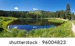 Mountain lake in the Rocky Mountains in Colorado. - stock photo