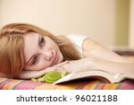 pretty woman with book | Shutterstock . vector #96021188