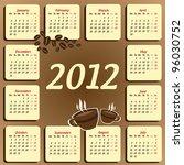 coffee calendar 2012 | Shutterstock .eps vector #96030752