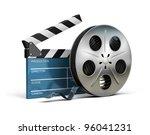 cinema clapper and film tape....   Shutterstock . vector #96041231