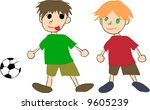 two kids are playing soccer | Shutterstock . vector #9605239