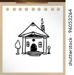 house cartoon hand drawn doodle | Shutterstock .eps vector #96053264