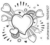 Doodle style Valentine's Day romantic heart with exploding pop background in vector format - stock vector