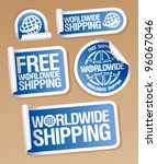world wide shipping stickers...   Shutterstock .eps vector #96067046