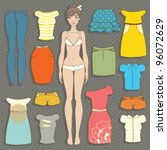 cute dress up paper doll body... | Shutterstock .eps vector #96072629