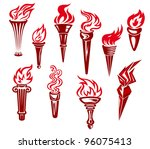 set of flaming torches icons...