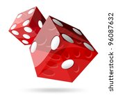 Two Red Dice Cubes On White...