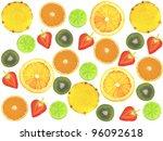assorted sliced fruit on a... | Shutterstock . vector #96092618