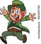 cute cartoon jumping leprechaun.... | Shutterstock .eps vector #96105740