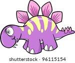 Crazy Insane Stegosaurus Dinosaur Vector Illustration - stock vector