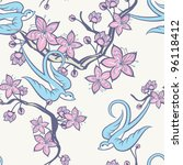 swallow and cherry blossom... | Shutterstock .eps vector #96118412