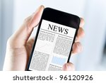 a man holding modern mobile... | Shutterstock . vector #96120926