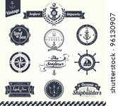 set of vintage retro nautical... | Shutterstock .eps vector #96130907