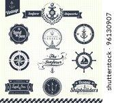 set of vintage retro nautical... | Shutterstock .eps vector #96130907