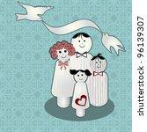 wooden peg people   family | Shutterstock .eps vector #96139307