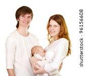 Happy family with newborn baby - stock photo