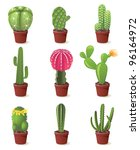 9 cactuses icons set... | Shutterstock .eps vector #96164972