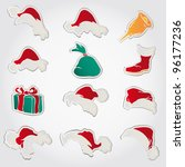 set of red santa hats and... | Shutterstock .eps vector #96177236