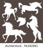 Set Of Fine Unicorn Silhouette...