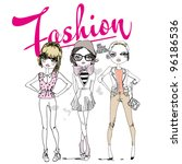 Illustration Fashionable Girls
