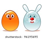 glossy easter chick and bunny | Shutterstock .eps vector #96195695