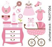 baby shower in pink | Shutterstock .eps vector #96197306