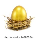 golden eggs in nest isolated on white - stock photo