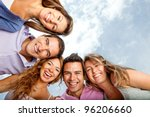 group of young people hugging... | Shutterstock . vector #96206660
