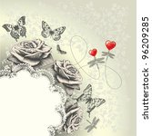Glamour background with lacy frame, red hearts, flying butterflies, dragonflies. Hand drawing. Vector.
