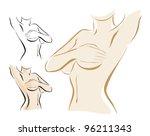 woman examining breast...   Shutterstock .eps vector #96211343