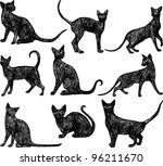 Stock vector black cats 96211670