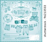 baby boy arrival set  birth... | Shutterstock .eps vector #96213533