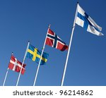 scandinavian flags towards blue ... | Shutterstock . vector #96214862