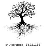 whole black tree with roots... | Shutterstock .eps vector #96221198