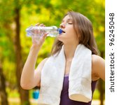 young woman drinking water... | Shutterstock . vector #96245048