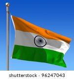 Flag Of India Waving In The...