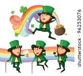 set of cute leprechauns.... | Shutterstock .eps vector #96253076