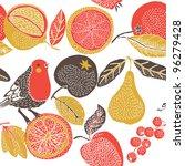 fruit garden with bird   Shutterstock .eps vector #96279428