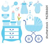 baby shower in blue | Shutterstock .eps vector #96286664