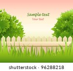 summer garden with tree and...   Shutterstock .eps vector #96288218