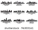 Stock vector american cities skyline set 96303161