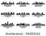 Stock vector american cities skyline set 96303161