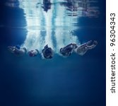 five swimmers jumping together... | Shutterstock . vector #96304343