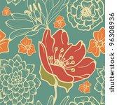 vintage floral pattern | Shutterstock .eps vector #96308936
