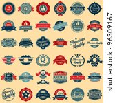 Stock vector collection of premium quality and guarantee labels retro vintage style design premium quality 96309167