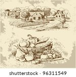 village houses sketch with food | Shutterstock .eps vector #96311549